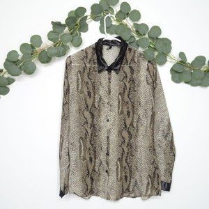 LOVE CULTURE Blouse Long Sleeve Snake Print Size M